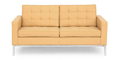 Florence Knoll Style Loveseat, Oxford Fawn Genuine Leather