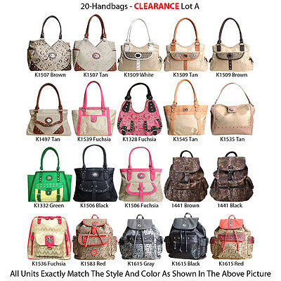20 Women's Backpacks Totes Satchel Handbags - Assorted Faux Leather Purse Lot