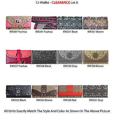 12 Casual Women's Clutch Wallets - Assorted Designer Faux Leather Purse Lot