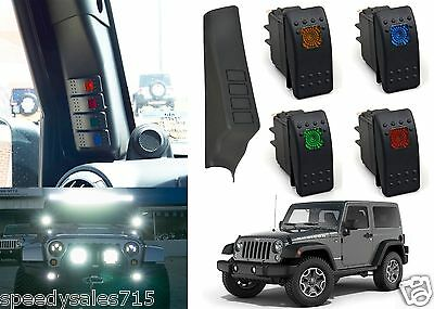 Left A-Pillar Switch Panel Pod W/ 4 Switch Combo For 2011-2016 Jeep Wrangler New