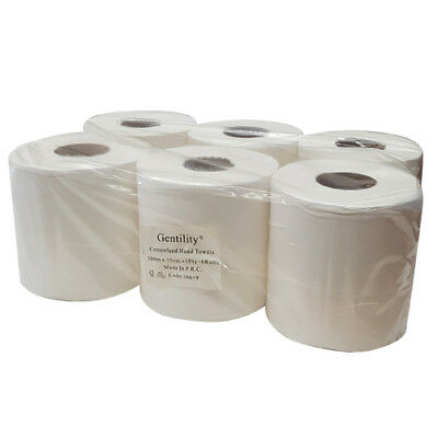 6X Centre feed White Hand Roll Paper Towel Paper Towel 1ply 300m x 19cm