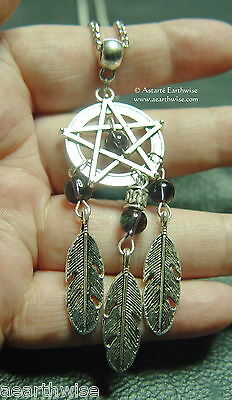 PENTAGRAM DREAM CATCHER PENDANT WITH AMETHYST & CHAIN Wicca Pagan Witch Goth