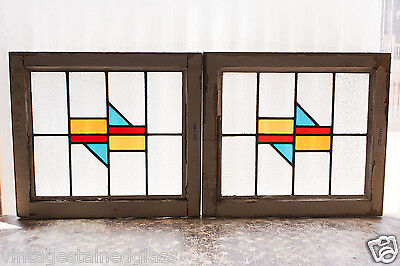 Pair of Antique Stained Glass Windows Three (3) Color Art Deco Design     (2980)