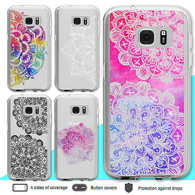 Galaxy S7 S7 Edge Case Mandala Crystal Clear Bumper Print Cover for Samsung