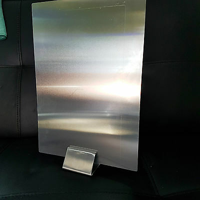 10 x BRUSHED SATIN  STAINLESS STEEL SIGN CLIP MENU / SIGN HOLDER STAND