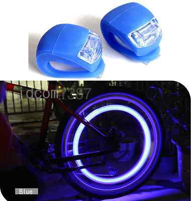 2X Silicone Bike Bicycle Cycling Head Front Rear Wheel LED Flash Light Lamp XN