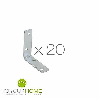 20x Corner Fixed Angle Bracket L Shape Furniture Fittings Connector Hinge 50x15