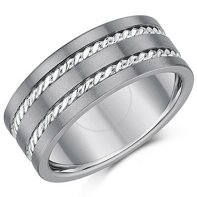 Titanium Ring Wedding Band Rope Patterned *Sale Limited Stock* 9mm Band