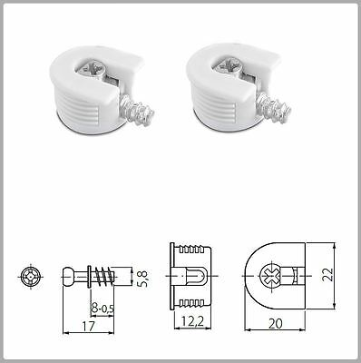 2x WHITE KNOCK DOWN CAM LOCK - FLAT PACK FURNITURE FITTING, DOWEL ASSEMBLY