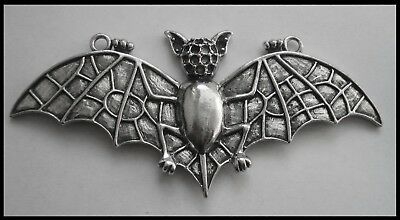 PEWTER CHARM #1129 LARGE FLYING BAT (93mm x 42mm) 2 bail pendant WINGS OUT
