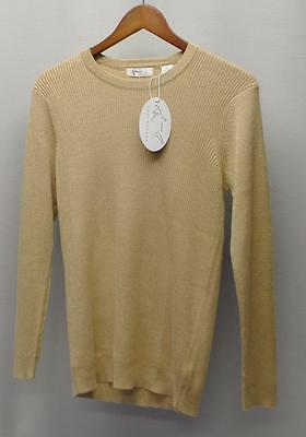 New Womens LARGE Greg Norman Gold Glitter long sleeve crewneck sweater Rayon