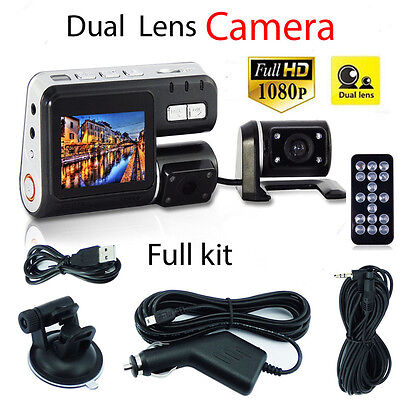 "Dual Lens Car Camera 1080P HD 2.7"" LCD Night Vision CCTV Video Recorder Dash Cam"