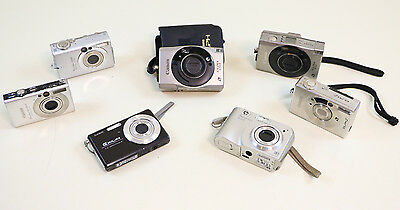 Lot Of 7 Untested Cameras 3 Canon 4 Canon Casio HP Digital  Parts Repair Resale