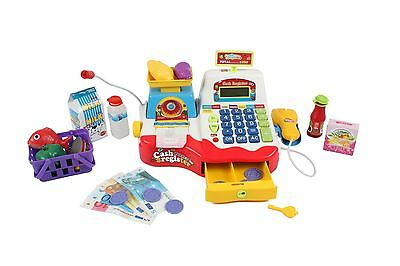 Childrens Kids Supermarket Cash Register With Microphone Shop Grocery Checkout