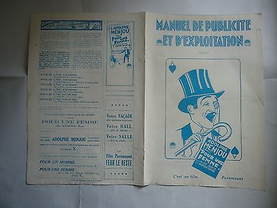 ADOLPHE MENOU/THE ACE OF CADS// french pressbook 20's +program