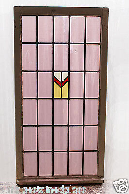 Very Large Antique Stained Glass Window Fantastic Four Color Plum         (2986)
