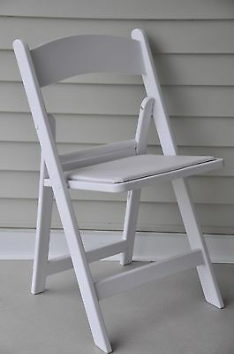 144 Folding Chairs White Resin Stacking Country Club Party Event Catering Chair