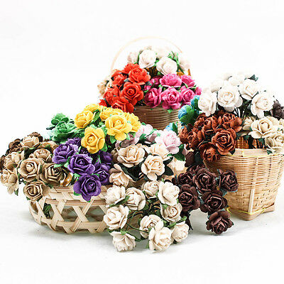 5PCS-50PCS Rose 15mm Mulberry Paper Flower DIY Handmade Wedding Scrapbook A1512