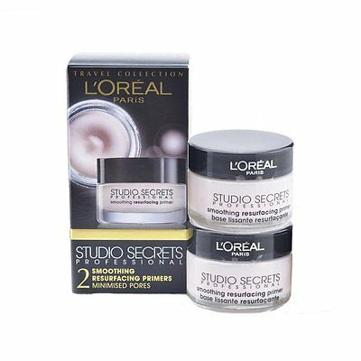 NEW L'Oreal Studio Secrets Smoothing Resurfacing Primer 15ml 2 PACK + Free P&P