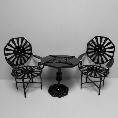 Black Patio Table & Chairs, Garden Furniture, Doll House Miniature, 1:12 Scale