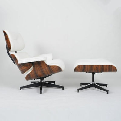 Eames Lounge Chair & Ottoman Mid-Century Reproduction White Italian Leather