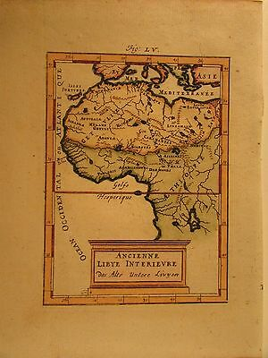 west Africa Libya interior 1719 antique engraved hand colored Mallet map