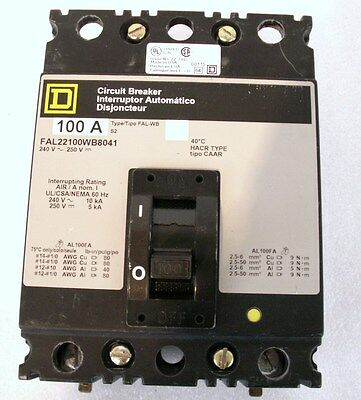 100 Amp Square D Circuit Breaker Interrupter Fal 22100WB 8040 New Equip Take Out