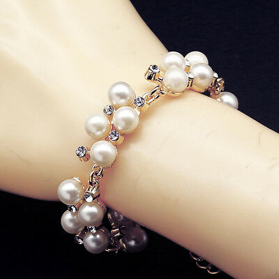 A+ Fashion Girl Mother of Pearl Crystal Inlay Bangle Bracelet Chain Jewelry Gift