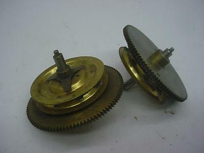 lot of 2 Clock Wind-Up Clutch Weight Chain Driven Brass 101 Tooth Gears E837