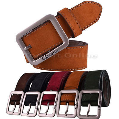 New luxury Genuine Full Grain Leather Mens Jeans buckle Belt Leisure Waistband