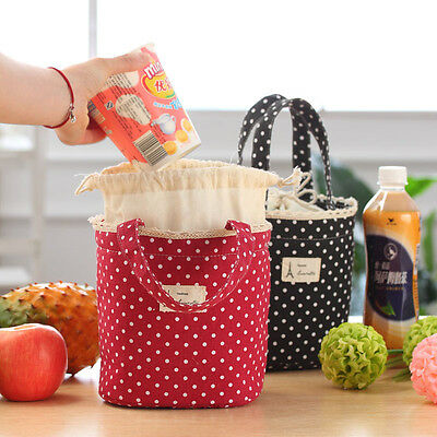 Cotton Thermal Insulated Lunch Box Cooler Bag Tote Bento Pouch Lunch Container
