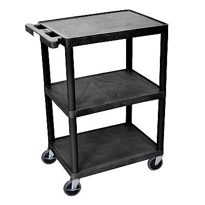 Luxor HE34-N Utility Cart, 3-Shelves, Black Structural Foam Plastic Construction