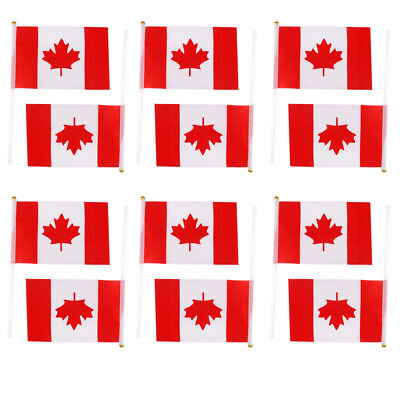 12pcs National Flag of Canada Canadian Hand Waving Flags Maple Leaf Banners
