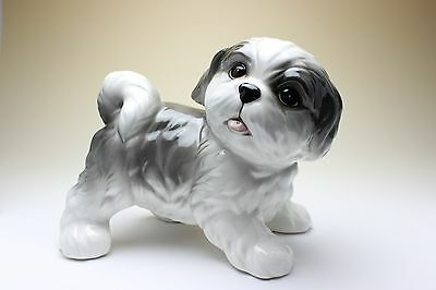 Shih Tzu Puppy White with Silver Grey Baby Dog Porcelain Figurine Japan NEW