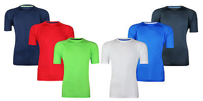 Mens Breathable T-Shirt Wicking Shirt Top Running Gym Sports Fitness Cool Dry