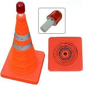 Collapsible Working Area Hazard Danger Orange Safety Cone With Led Beacon New