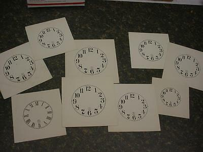 Lot of Seth Thomas Ansonia ArabicRoman Numeral Paper Clock Dial Replacement e810