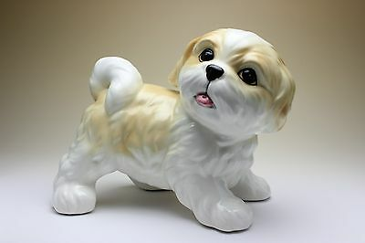 Shih Tzu Puppy Gold and White Parti-Colored Dog Porcelain Figurine Japan NEW