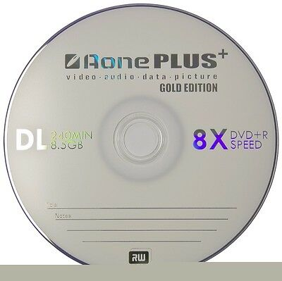 AONE DVD+R DUAL LAYER DVD 100 DISC PACK RECORDABLE INKJET PRINTABLE 8.5GB DVDs