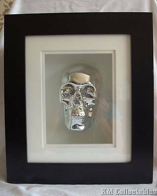 Silver Skull in a Large Box Frame. Free P&P. Wall Ornament. Heavy Quality Boxed