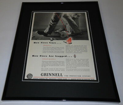 1951 Grinnell Fire Protection Framed 11x14 ORIGINAL Vintage Advertisement