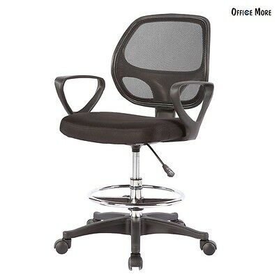 Ergonomic Office Drafting Chair Stool Adjustable Footring Mesh Computer Bank New