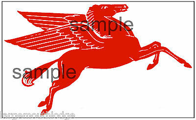 "Mobil Gas Oil Decal 8"" Right Facing  Pegasus Horse"