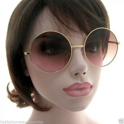 13c6f090b4 EXAGGERATED OVERSIZE VINTAGE Style SUN GLASSES Round Gold Frame Brown Pink  Lens