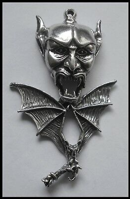 PEWTER CHARM #1229 DEVIL HEAD & BAT 1 BAIL (63mm x 39mm) LUCIFER