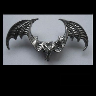 PEWTER CHARM #1249 BAT WINGS OUT (43mm x 22mm) 2 rear bails for necklace