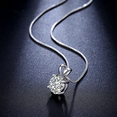 Fashion Charm Crystal Pendant Silver Stainless Steel Chain Necklace Chic Jewelry