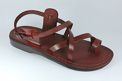 c479ddbfc0ccc LEATHER JESUS MENS Brown Canaan Roman Sandals Gladiator UK Size 4-12 ...