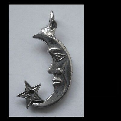 PEWTER CHARM #1266 MOON & STAR PENDANT 1 Bail (43mm x 25mm) CRYSTAL CAVITY