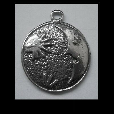 PEWTER CHARM #1269 MOON & STAR DISC PENDANT 1 Bail (30mm x 26mm)